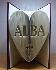 'Alba' customised Christening folded book sculpture (Spellbound Book Art) Tags: spellboundbookart bookfolding booksculpture customisedgift christening foldedbookart bookart uk madeinbritain bookfoldinguk upcycled