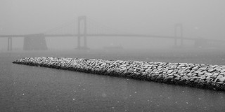 Jetty And Throgs Neck Bridge During Snowstorm; Queens, New York