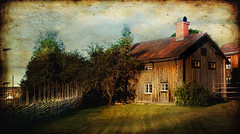 Morning glory (BirgittaSjostedt) Tags: architecturevillage house old traditional preserved fence outside summer sunrise texture paint fencefriday lenabemanna birgittasjostedt