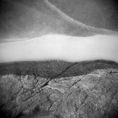 Silver Lake in Winter #11 (LowerDarnley) Tags: holga saugus ma silverlake breakheartreservation winter lake ice snow rock shoreline berggerpancro400