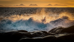 Sea waves hitting the shore at Titran, central Norway (kkorsan) Tags: titran stabben waves shore shoreline seawaves oceanwaves eveningcolors eveningcolours sunsetcolours sunset frøya trøndelag norway tustnamountains