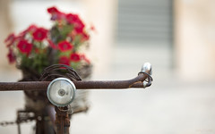 Bicicielo (w.k.photography) Tags: bicycle alberobello bari auplia italy lamp rust romance red flowers