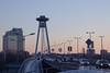 Sunset Over the UFO (Gilderic Photography) Tags: bratislava roadtrip travel architecture bridge car sky sunset winter city ufo ovni road tower canon 500d