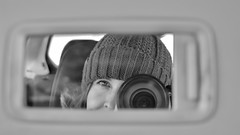 Passing Time ... (vanessa violet) Tags: 52in2018challenge 27framewithinaframe frame mirror car selfie me hat winter snow waiting passingtime camera nikon reflection protrait