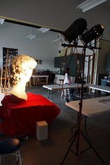 P2020150 (photos-by-sherm) Tags: michelangelo bust david replica cameron art museum wilmington nc pancoe center winter spotlight floodlights kissing