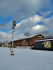Replica P&LE Station West Newton (George Neat) Tags: west newton westmoreland county ple railroad station youghiogheny branch river trail little giant pa pennsylvania great allegheny passage george neat buildings structures signal mile marker railcar train sky tree car snow building