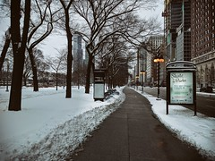 Glide (ancientlives) Tags: chicago illinois il usa travel michiganavenue city downtown loop park snow winter cold frozen ice lights adverts billboard architecture buildings cityscape saturday february 2018 walking streetphotography