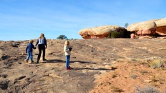 Sue & The Kids On The Pothole Point Trail (Joe Shlabotnik) Tags: proudparents nationalpark utah violet sue 2017 hiking canyonlands everett november2017 canyonlandsnationalpark afsdxvrzoomnikkor18105mmf3556ged