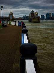 The Railings (Steve Taylor (Photography)) Tags: art digital architecture railing fence metal water river uk gb england greatbritain unitedkingdom london texture cloud barrier floodgate thames thamesbarrier woolwich