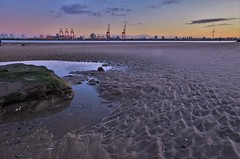 Sunrise Looking to Liverpool (Rudi Verspoor) Tags: liverpool wirral beach sunrise morning sky light water uk britain sand
