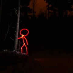 It Came from the Woods (Jan Zielinski) Tags: nightphotography kiev88 lightpaintedstickman norway lightpaintflash woods m43 lumixlx100 light lightpainting stickman