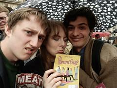 Rainy Days 16 Parentcraft (Terry Moran aka Tezzer57) Tags: nikon people rain deluge storm street girl guys flyer promote promotion edinburghfringe2017 fringe theroyalmile umbrella parentcraft