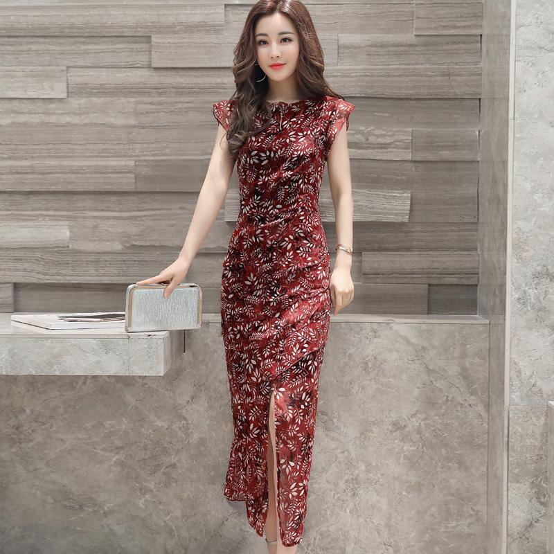 2017 die neuen Sommer - chiffon - kleid temperament nach deutlich dünner cheongsam Damen pflegen, Frauen, deren kleider