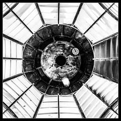 Glass Ceiling (Novocastria Photography) Tags: whitleybay lighthouse square stmarysisland seaside coast oculus oculi light glass window mono bw blackandwhite