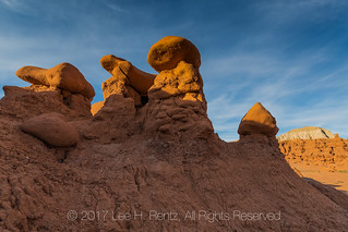 Sandstone Hoodoos In Sunset Light in Goblin Valley State Park