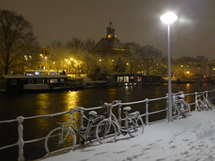 Fairytale-like (m_artijn) Tags: amsterdam nieuwevaart nl oosterkerk church canal snow night fairytale