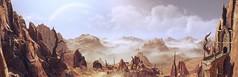 Strange World (~Scimo~) Tags: tw3 geralt witcher fantasy screenshot panorama mountain ruins landscape clouds desert fog nebel ruinen sky wolken strange