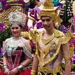 Thai People in Traditional Dress Waiting to Join the Chiang Mai Flower Festival Parade 177 thumbnail