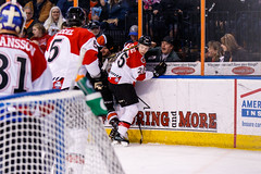 """Kansas City Mavericks vs. Cincinnati Cyclones, February 2, 2018, Silverstein Eye Centers Arena, Independence, Missouri.  Photo: © John Howe / Howe Creative Photography, all rights reserved 2018. • <a style=""""font-size:0.8em;"""" href=""""http://www.flickr.com/photos/134016632@N02/39407208404/"""" target=""""_blank"""">View on Flickr</a>"""