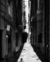 """Sunlight"" (giannipaoloziliani) Tags: streetphotography italia liguria lightandshadow capture nikonphotography nikoncamera shadows blackandwhite biancoenero walls sunlight italy genova genoa caruggi"