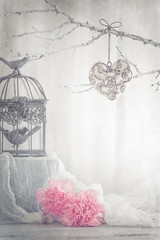 Vintage Valentine's day (Ro Cafe) Tags: stilllife valentinesday flowers heart romantic lifeisarainbow grey gris pink vintage birdcage gauze soft pastelcolours nikkormicro105f28 nikond600 textured branches