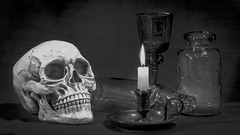 Spooky Still Life. (Tony Smith Photo's) Tags: black dark glass gothic head texture textured white anatomical anatomy antique art background body bone bottle candle candlelight candles candlestick composition corpse cranium creepy dead deadperson death dimlight evil eyessocket face fear halloween horror human humanbone humanskull image jaws life light medical morbid object objects old physiology scary skeleton skull skulls spooky still stilllife teeth tooth canon eos70d