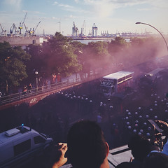 Hamburgers (Olly Denton) Tags: politics protest journalism work photojournalism cloud teargas police protestors antig20 g20 light helmets docks summer iphone iphone6 6 vsco vscocam vscohamburg vscogermany vscodeutschland ios apple mac shotoniphone stpauli hamburg germany deutschland