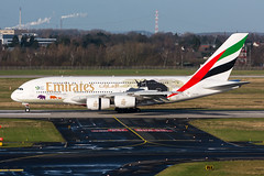 """A6-EER - Emirates - Airbus A380-861 - """"United for Wildlife"""" special colours (5B-DUS) Tags: a6eer emirates airbus a380861 unitedforwildlife special colours a380 a388 dus eddl dusseldorf düsseldorf international airport aircraft airplane aviation flughafen flugzeug planespotting plane spotting"""
