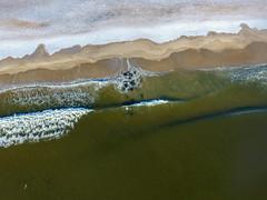 Waves from the Atlantic Ocean hit a snow-covered Manasquan Beach. Captured by a DJI Phantom 4 drone. (apardavila) Tags: atlanticocean djiphantom4 fb jerseyshore manasquan manasquanbeach aerial beach drone morning snow