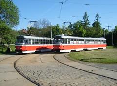 Brno trams Nos. 1046 and 1119. (johnzebedee) Tags: tram transport publictransport vehicle brno czechrepublic johnzebedee tatra tatrak2