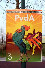 PvdA, the Dutch labour party (Davydutchy) Tags: fryslân friesland frisia frise nederland netherlands niederlande paysbas elections verkiezingen gemeente municipality council local political party poster defryskemarren pvda rooster cock hahn rode haan february 2018