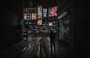 Toronto walker (reinaroundtheglobe) Tags: toronto ontario canada dundassquare city urban streetphotography street alley billboards moody noir