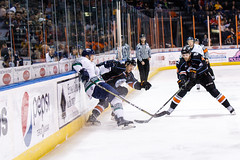 """Kansas City Mavericks vs. Florida Everblades, February 18, 2018, Silverstein Eye Centers Arena, Independence, Missouri.  Photo: © John Howe / Howe Creative Photography, all rights reserved 2018 • <a style=""""font-size:0.8em;"""" href=""""http://www.flickr.com/photos/134016632@N02/40387905741/"""" target=""""_blank"""">View on Flickr</a>"""