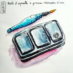 Petit matériel de base. (cecile_halbert) Tags: dessin croquis carnet crobard aquarelle encre matériel draw drawing sketch sketching sketchbook artbook artist journal journaling sketchtools art diary watercolor ink kit sketchkit