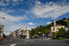 Blue Skys to the South (Jocey K) Tags: newzealand nikond750 southisland buildings otago portchalmers roadcones people clouds sky street historictown roads hills church trees