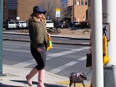 Crosswalk (thomasgorman1) Tags: street woman fashioin arts neighborhood nm southwest people dog candid outdoors sunlight sunshine crossing crosswalk sign intersection walking hat sunglasses canon public