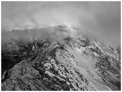 Striding Edge awaits (malcbawn) Tags: stridingedge blackandwhite snow lakedistrict helvellyn canong5 mountain clouds mist lake district cumbria bad visibility theplacetobe