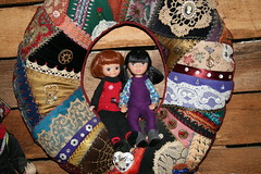Tiny Dawn joins Lupe (Crazyquilter) Tags: madamealexandertravelfriends doll mexico maríaguadalupe lupe crazyquilt wreath tinybetsy tinydawn tonner