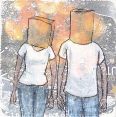 # 253 2018-01-17 (h e r m a n) Tags: herman illustratie tekening 10x10cm tegeltje drawing illustration karton carton cardboard kunst art manenvrouw manandwoman bag brown paper head duo couple stel