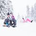 Kids sliding in the winter
