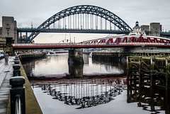 Tyne bridge reflections. . . (CWhatPhotos) Tags: bridge bridges span crossing river tyne rivertyne swing swingbridge reflection reflections arch photographs photograph pics pictures pic picture image images foto fotos photography artistic cwhatphotos that have which with contain gateshead wear north east england uk newcastle upon jetty olympus penf pen f micro four thirds 43 camera 17mm f18 prime zuiko lens