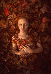 Leaves of Grass ({jessica drossin}) Tags: jessicadrossin portrait fine art woman girl redhair redhead beautiful freckles curls leaves print wwwjessicadrossincom