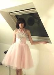 Knee length pink wedding gown (juliedeclichy) Tags: bride wedding princess ladyboy crossdresser