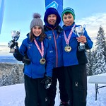 Tyee Cup 2018 Winners Brooke Irish and Thomas Hung from Grouse Mountain Tyee Ski Club with their coach Tamara Schaupp