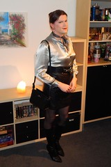 Love this blouse... (Rikky_Satin) Tags: silk satin blouse leather skirt boots highheels scarf pantyhose crossdressing crossdresser transformation m2f mtf feminization tgirl tgurl gurl