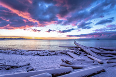 Winter Morning (Paul Rioux) Tags: nature scenic seascape seashore waterfront beach winter snow snowfall cold ice frost driftwood calm water sea ocean reflection sky morning daybreak sunrise clouds colour outdoors prioux esquimaltlagoon colwood westshore