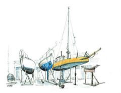 La Rochelle, chantier (Croctoo) Tags: croctoo croctoofr croquis crayon aquarelle watercolor poitoucharentes charentemaritime port chantiernaval bateaux larochelle