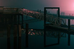 Waterway Ghosts (llabe) Tags: reflection dock pier night commencementbay pugetsound fosswaterway tacoma washington nikon d750