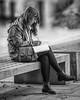 South Bank Poet (woody1864) Tags: streetphotography street southbank london bw blackandwhite blackwhite portrait girl woman