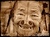 2017-10a Ziro Valley Apatani (97) (Matt Hahnewald) Tags: matthahnewaldphotography facingtheworld yapinghullo head face forehead tattoo facialtattoo nose eyes livedinface wrinkles badteeth toothgap consent emotion fun respect travel culture ethnic tribal adivasi traditional cultural village ziro valley arunachalpradesh india apatani indian asian oneperson female adult old woman experimental photography image picture photo faceperception physiognomy nikond3100 primelens 50mm 4x3 horizontal street portrait closeup cropped outdoor monochrome sepia vignette posing authentic smiling bulla photoscape noseplugs northeast postprocessing fullfaceview expression headshot lookingatcamera